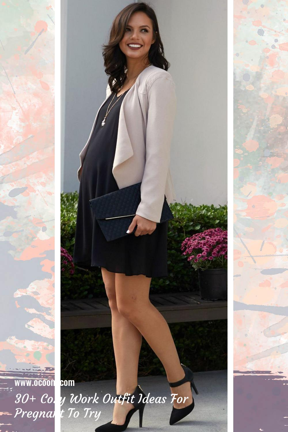 30+ Cozy Work Outfit Ideas For Pregnant To Try 13