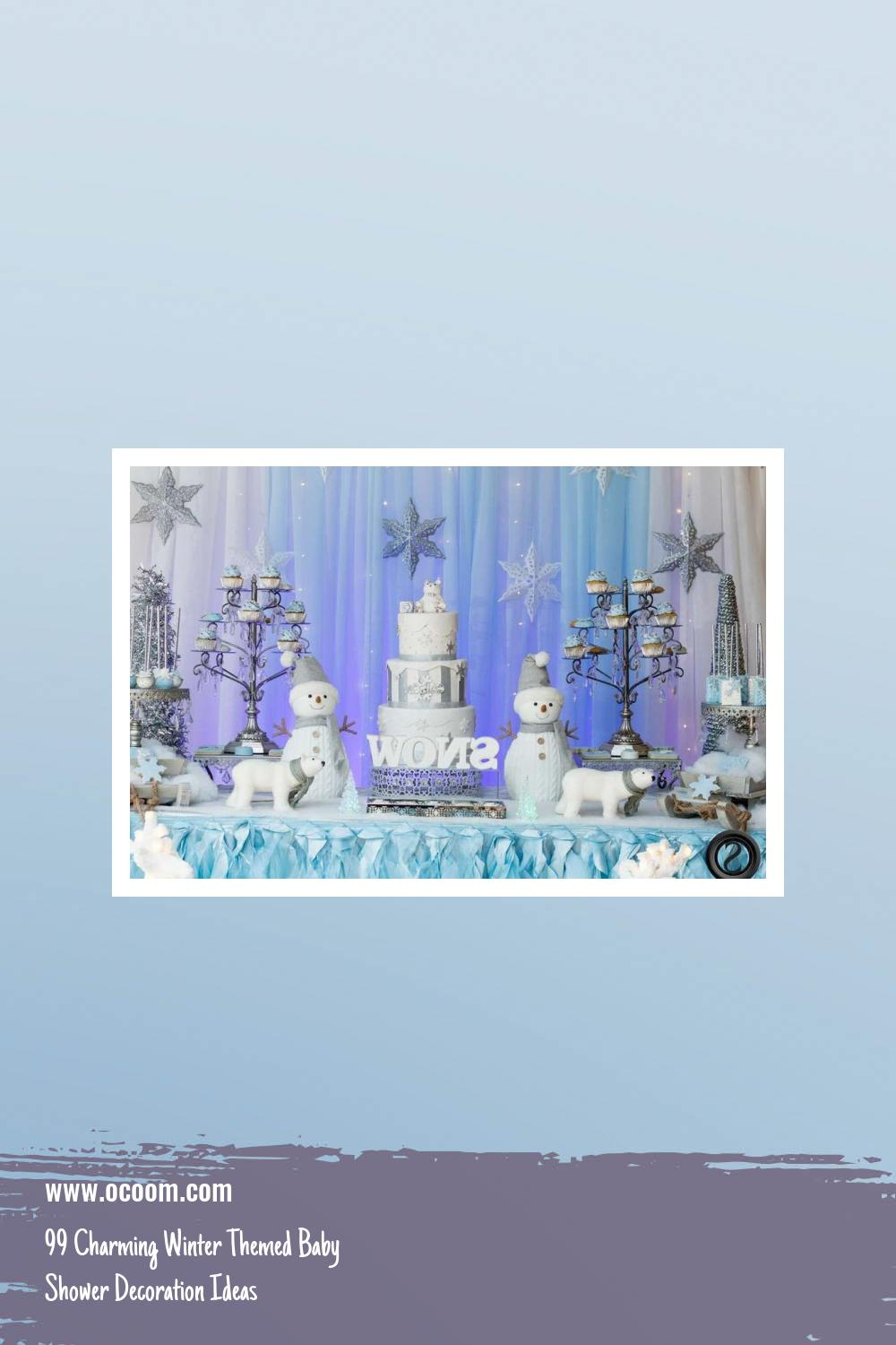 99 Charming Winter Themed Baby Shower Decoration Ideas 37