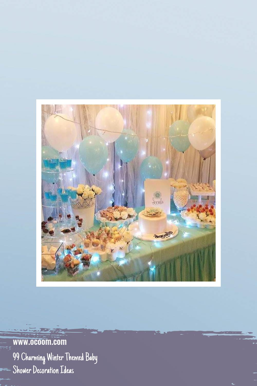 99 Charming Winter Themed Baby Shower Decoration Ideas 39